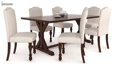 pepperfry they also have an amazing range of dining table set with a capacity of 6 people some pictures of the same are attached below have a look - 6 Seater Dining Table And Chairs