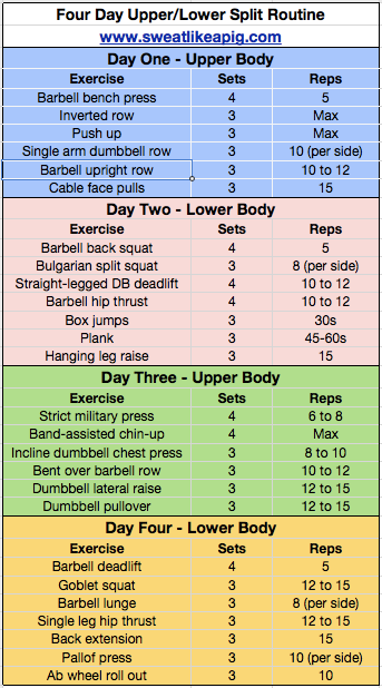 What Should Be My Schedule For Gym Workout Lower Body And Upper