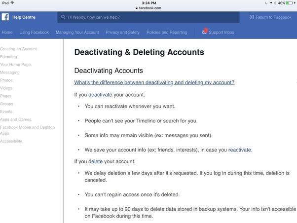 How do u deactivate your facebook