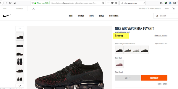 Are these Nike VaporMax Flyknit being sold on Amazon India