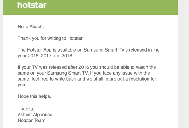 Does a Samsung smart TV have the Hotstar app? - Quora