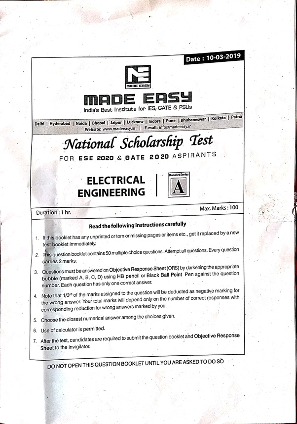 How was the Made Easy NST 2 technical question paper held in March