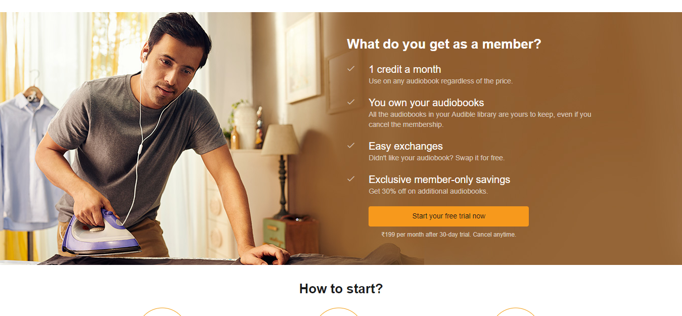 What are the terms for using Audible by Amazon? Is it free for prime