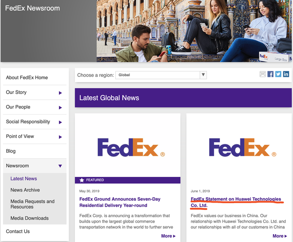 What's your opinion about fedex diverted Huawei's parcels