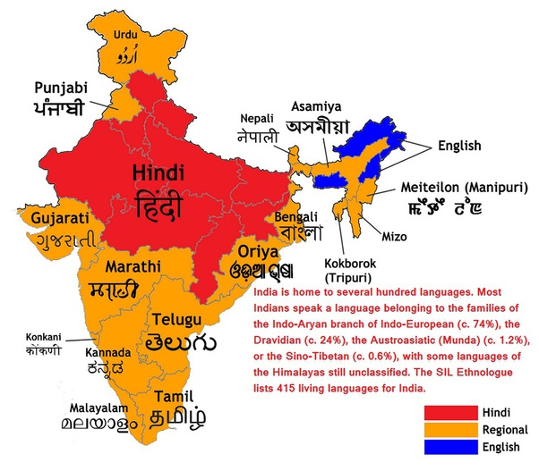 What are some popular languages in India?