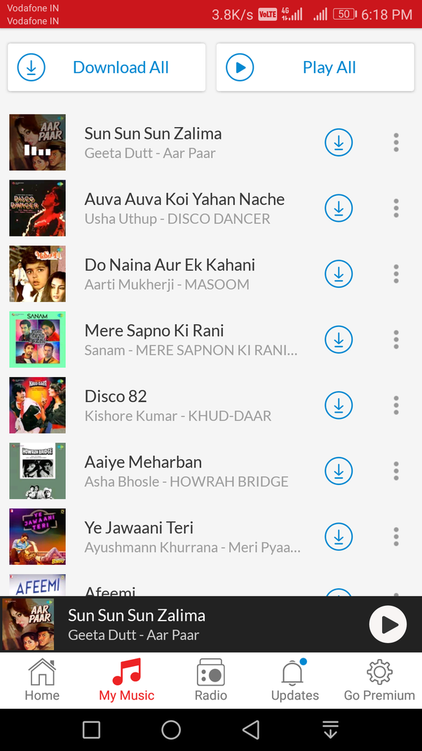 Can someone give me the list of old songs used in Meri Pyari