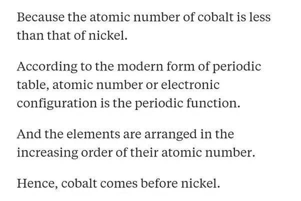 Why does cobalt come before nickel in the periodic table quora 40 views view upvoters answer requested by urtaz Choice Image