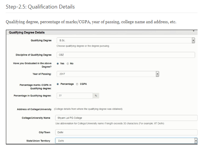 What is to fill in the option 'Discipline of qualifying degree' in