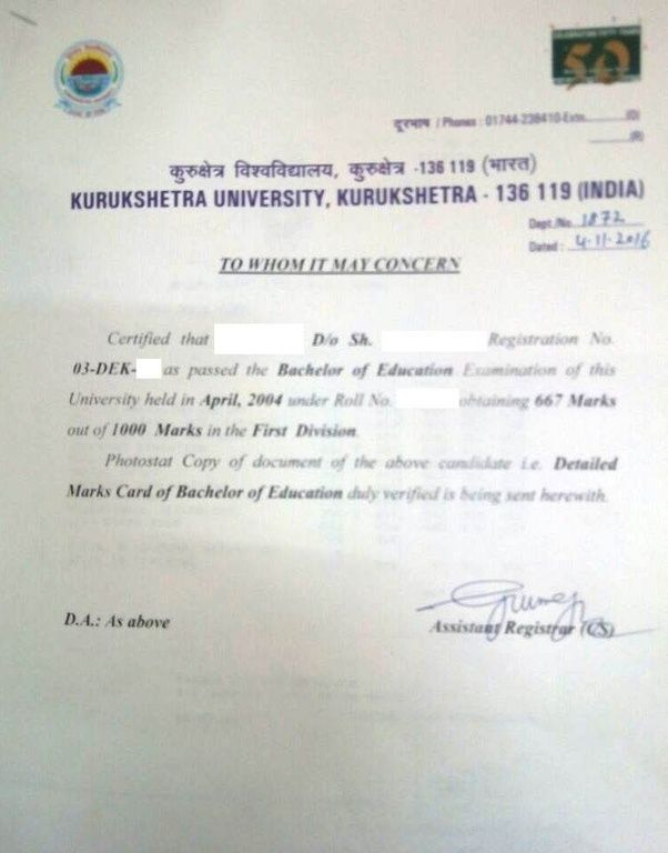 How to get the transcripts from kurukshetra university quora fees online although you still have to send all your documents at the mentioned address room no 100 examination wing 2 certificate section thecheapjerseys Gallery