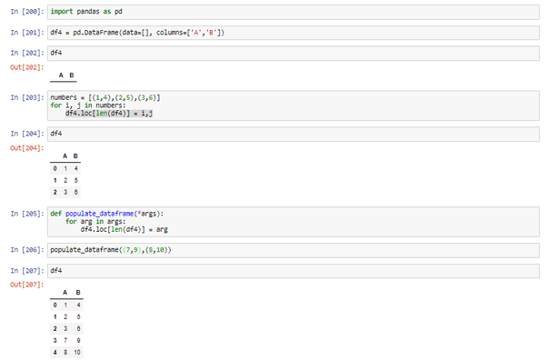 How to construct a DataFrame and input values into the
