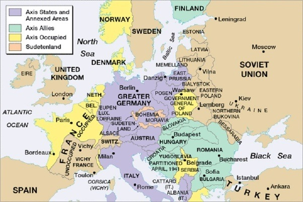 How would history have played out if germany had not attacked russia map of europe 1941 germany controlled in purple yellow and green gumiabroncs Gallery