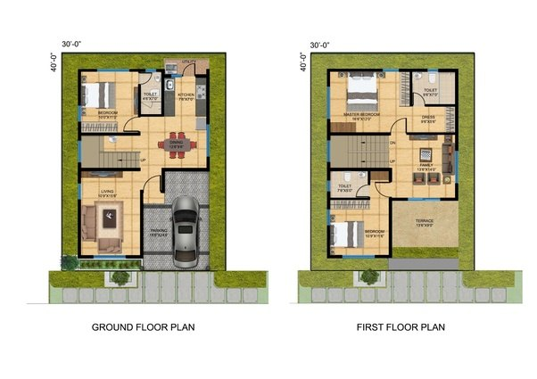 Is A 30X40 Square Feet Site Small For Constructing A House on blueprint house sample floor plan