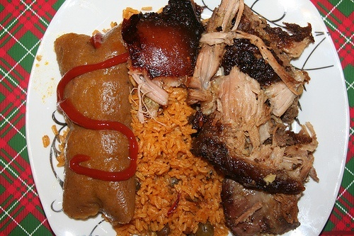roasted pork potato salad rice with beans and plantain tamales - Traditional Christmas Food