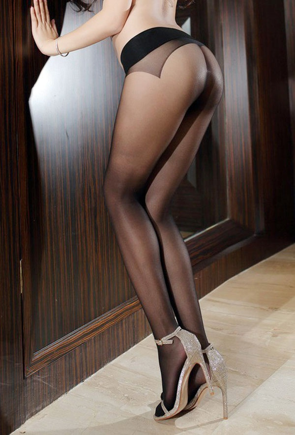 Wearing nude pantyhose showing just