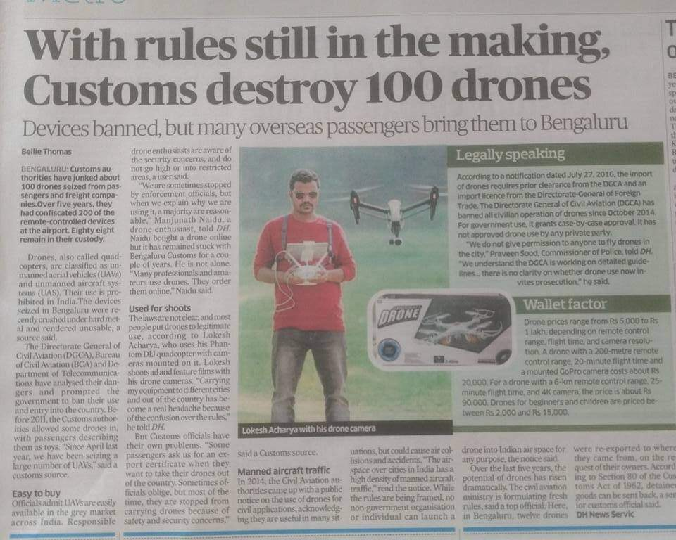 Has anyone recently imported a drone to Bengaluru? What's up