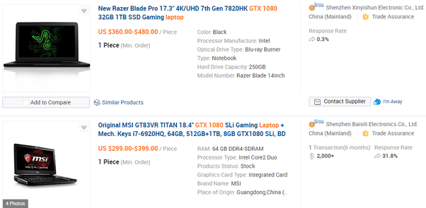 Are gaming laptops from Alibaba com really that cheap or all of