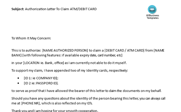 how to write an authorization letter to claim atm card
