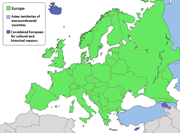 edit here is a map of europe as you can see turkey azerbaijan and kazakhstan are partially located in europe