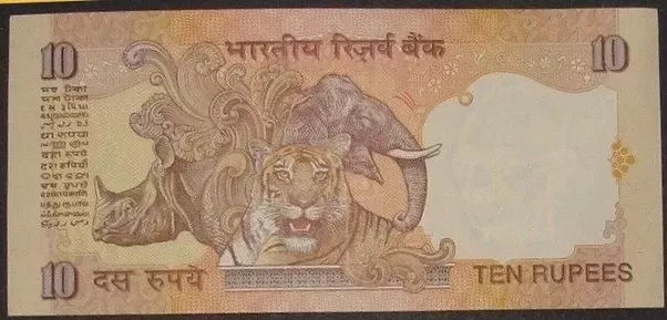 What Is The Significance Of Animals Made On 10 Rupees Note Quora
