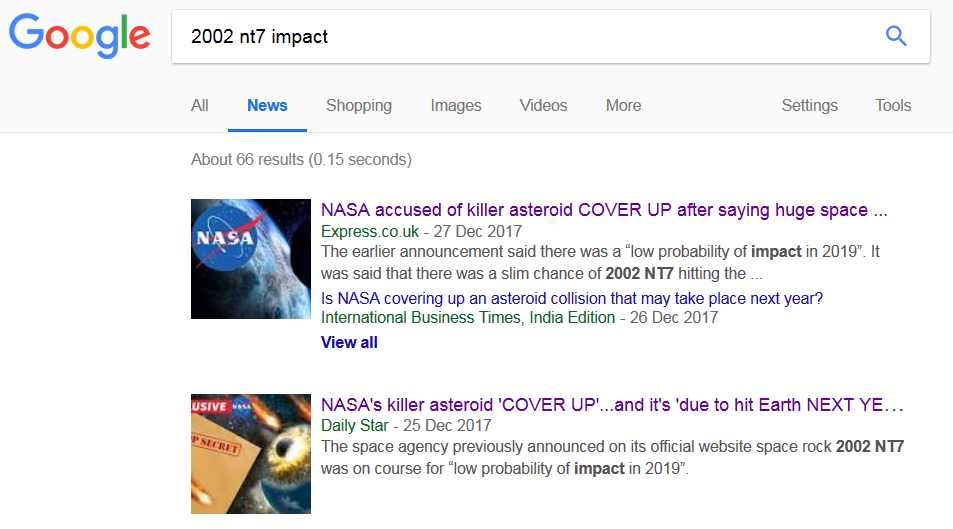 2002 NT7 Will NOT Hit Earth Feb 1, 2019 - Known Since Aug 1, 2002
