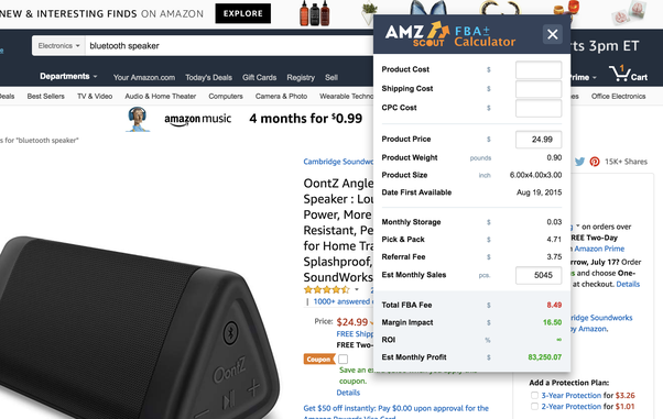 Do you know of any tool to calculate Amazon / eBay profits