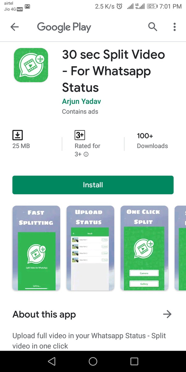 How To Upload A Whatsapp Status More Than 30 Second Videos