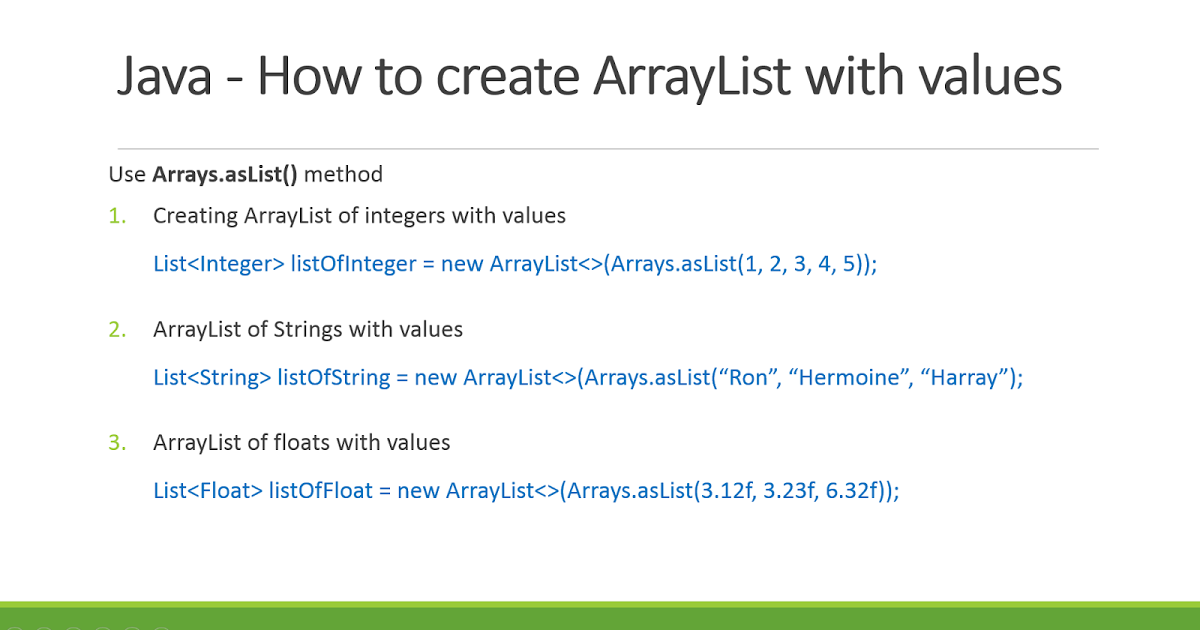 Java arraylist: explained with 8 examples.
