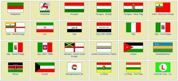 What countries have the colors red, white and green on ...