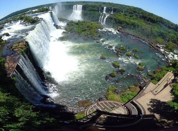 A Wide Panorama Shot Of Iguazu Waterfalls