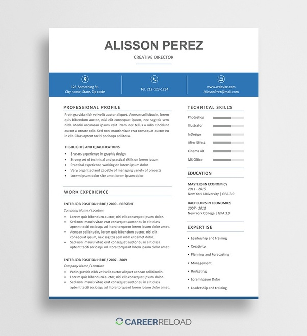 If You Are Familiar With Photoshop Can Find Nice Modern Resume Templates Here