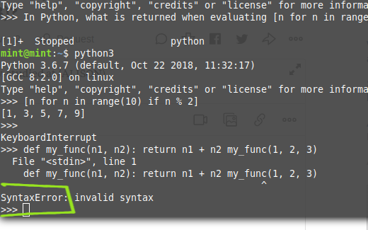 In Python, what kind of error is returned by the following