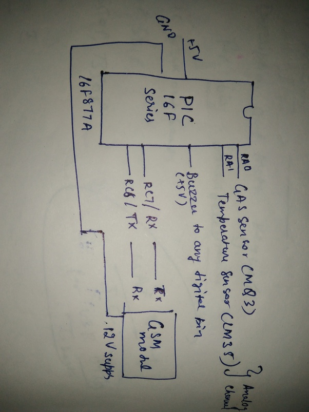 Can you make a circuit diagram for Fire alarm system using gas ...