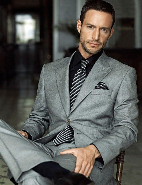 Is it ok to wear a black suit with a grey shirt? And what color ...