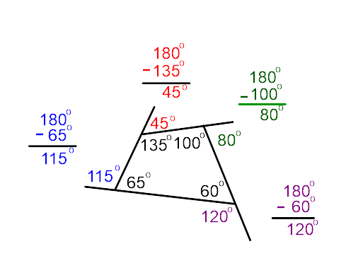 If The Polygon Is Regular, Or Even Just Equiangular, Each Exterior Angle Is  360 Degrees Divided By The Number Of Angles.