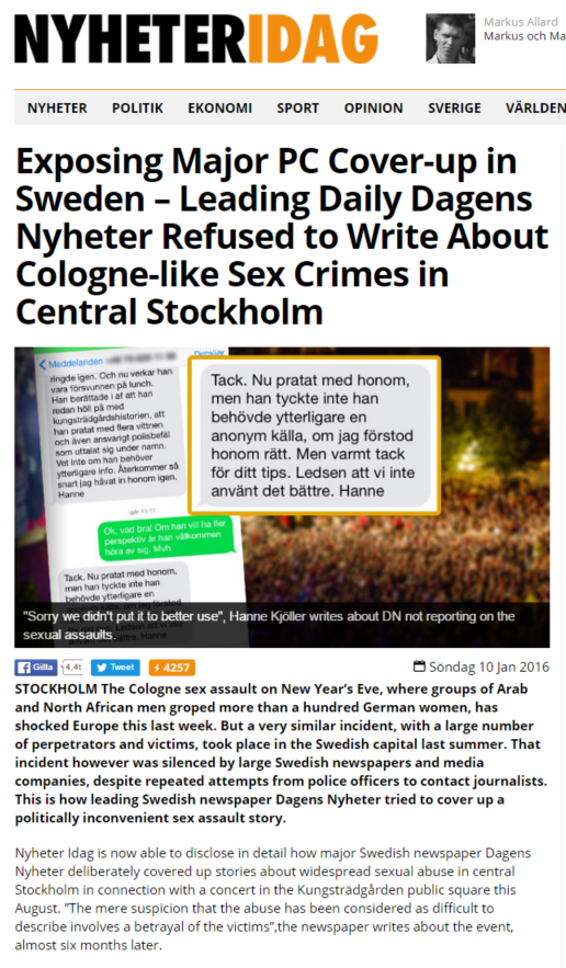 """[Note: I've had repeated sniping from someone who is pro-Swedish media and  government claiming that the above news source is """"extreme right, neo-Nazi""""."""