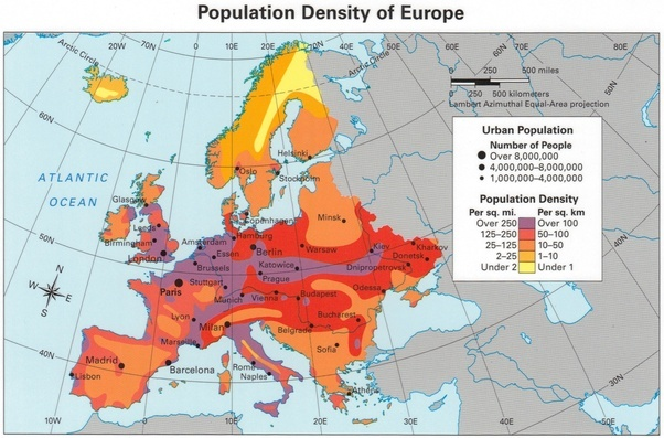 population density map of europe the shows regional tendencies beyond borders countries are not that old and i think this can give you a more general