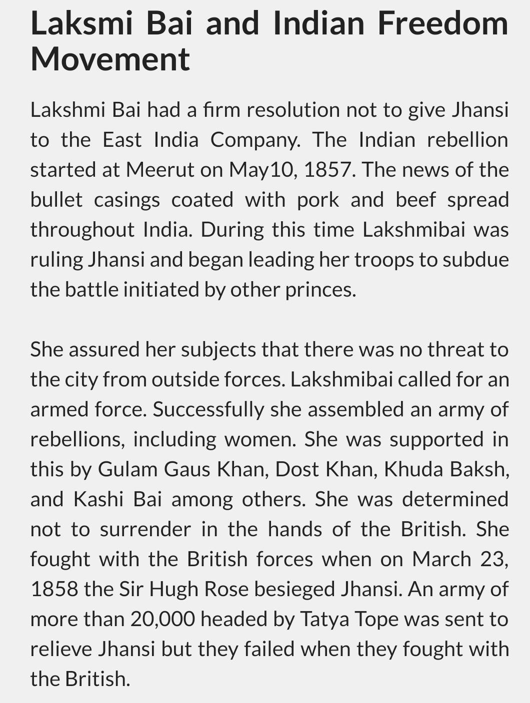 few lines about rani lakshmi bai