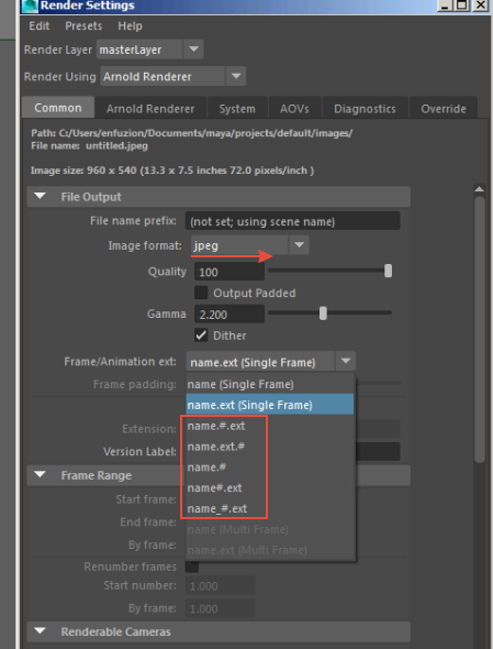 How to render a JPEG sequence in Maya, with Arnold - Quora