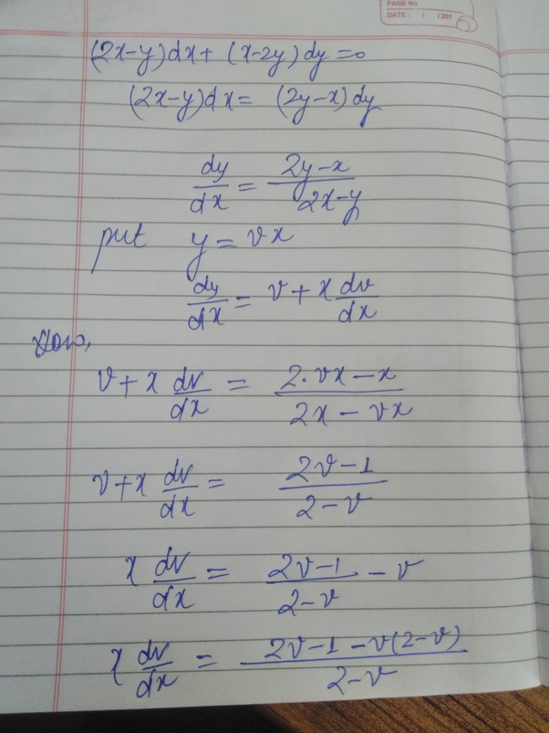 What Is The solution Of Homogeneous equation (2x-y) DX+ (x