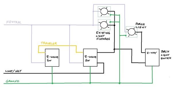How to add a single pole porch switch to a 3-way, 2 z-wave switch, 2 ...