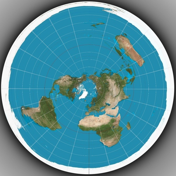Do you have a picture of a flat earth world map quora uh oh i see the distortion is even worse now the longitude lines converge back to the north pole thats good but antarctica and the south pole have gumiabroncs Image collections