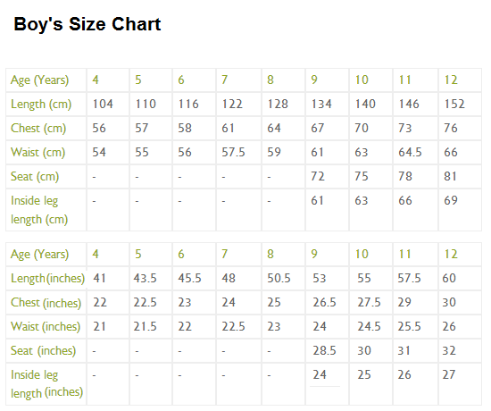 Here Are Some Size Charts To Help You
