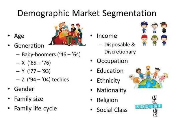 demographic segmentation Segmentation - disney geographic segmentation  demographic segmentation is segmenting markets by age, gender, income, ethnic background and family life cycle.