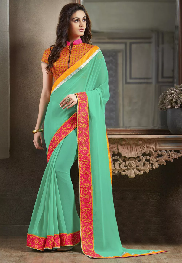 A Orange High Neck Blouse With Collar Looks Hot Soft Saree Like Sea Green Chiffon Or Georgette