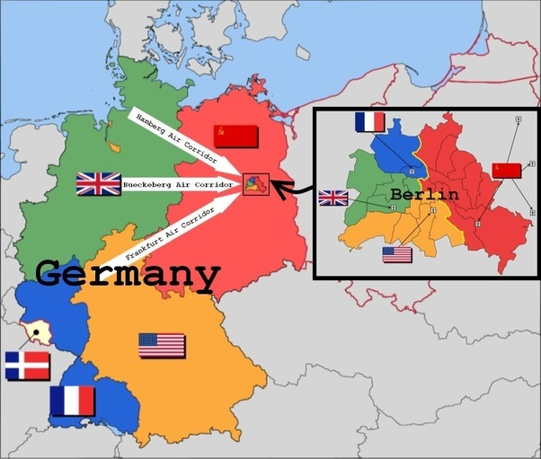 berlin and the rest of the old german state were occupied by the united states the soviet union britain and france with air and ground transportation