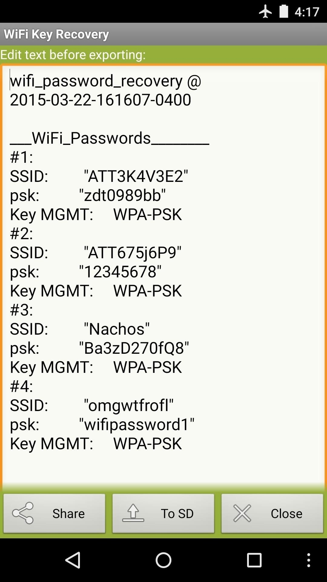 How can one get a WiFi password using an IP address in an Android