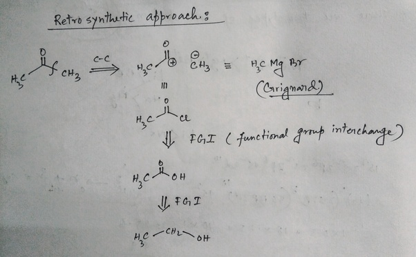 How to convert ethyl alcohol to acetone in minimum number of