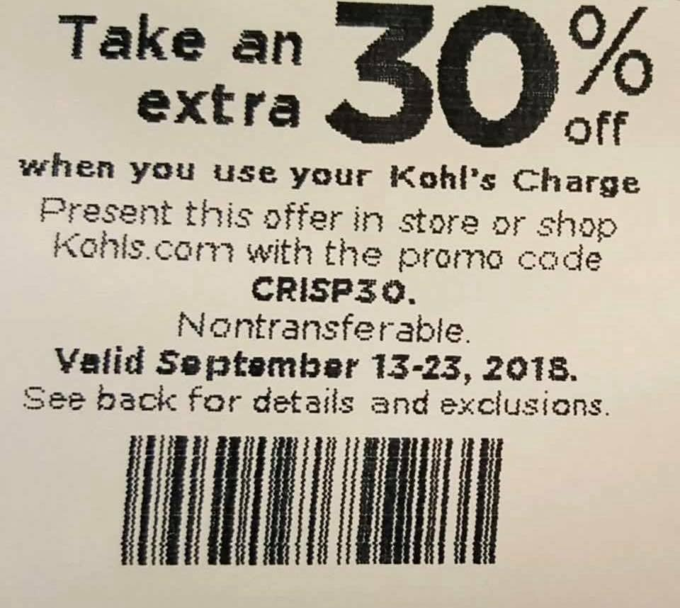 kohls in store coupons 30 off