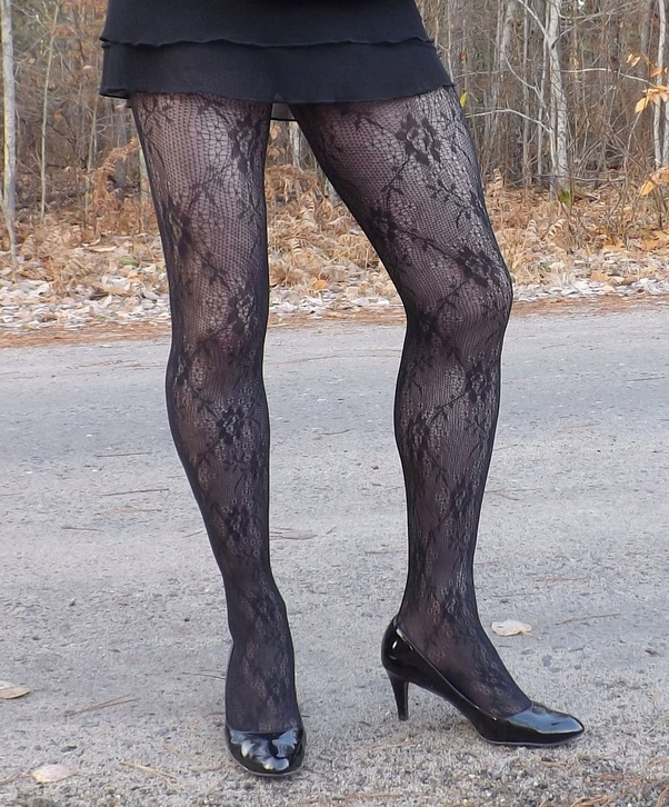 Something is. pantyhose 8inch high heels