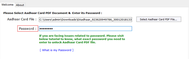 What Is Password After Aadhaar Card Pdf
